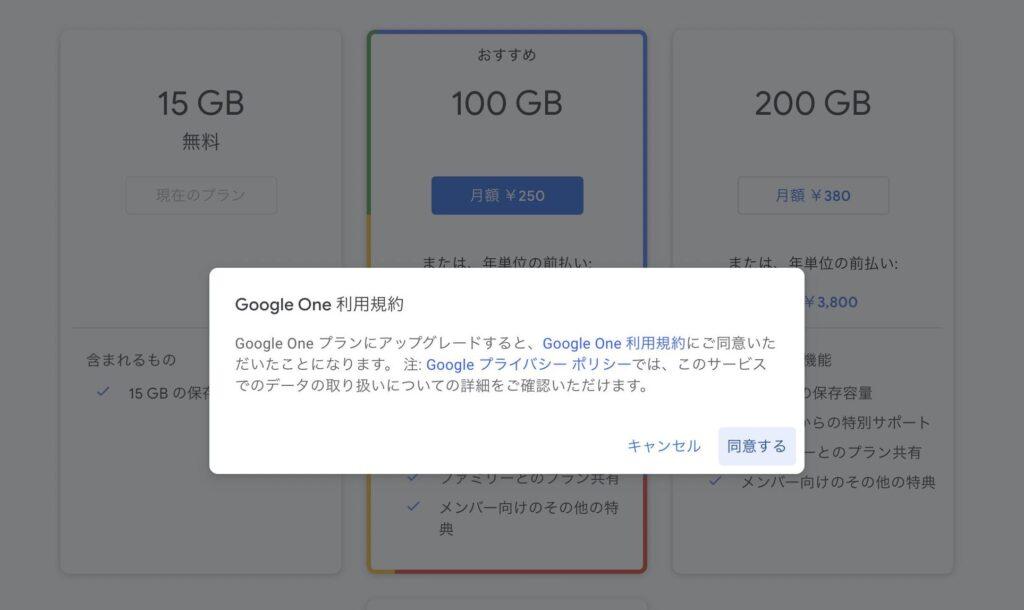 GoogleDriveの画面|利用規約の説明